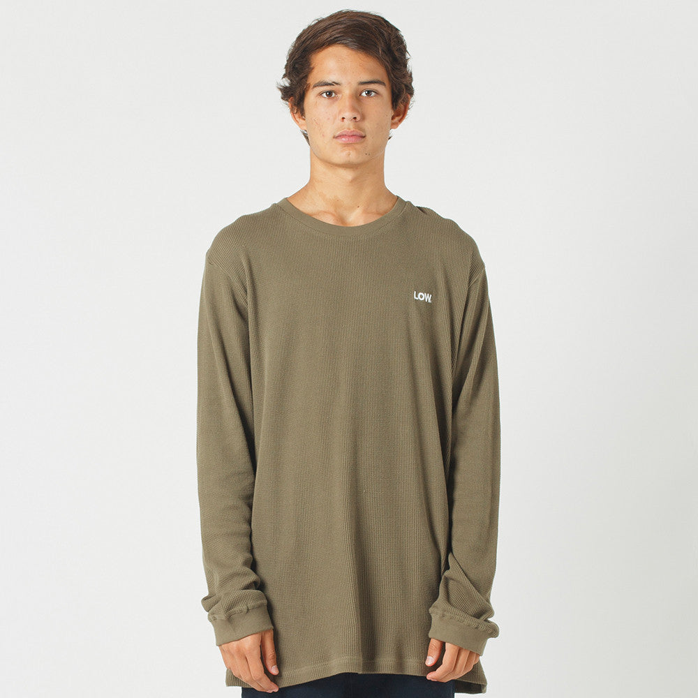 Lower Waffle L/S Tee / Low (Embroidered) - Olive