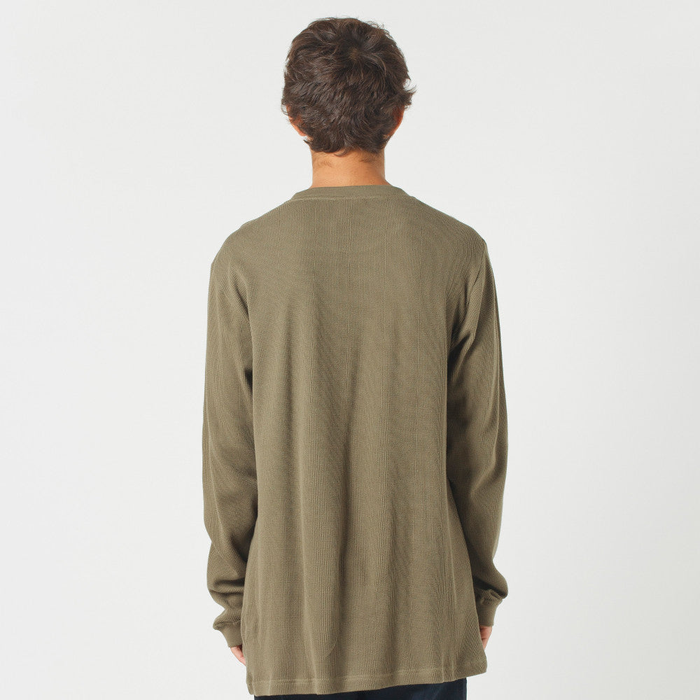 Lower Waffle L/S Tee / Low (Embroidered) Olive