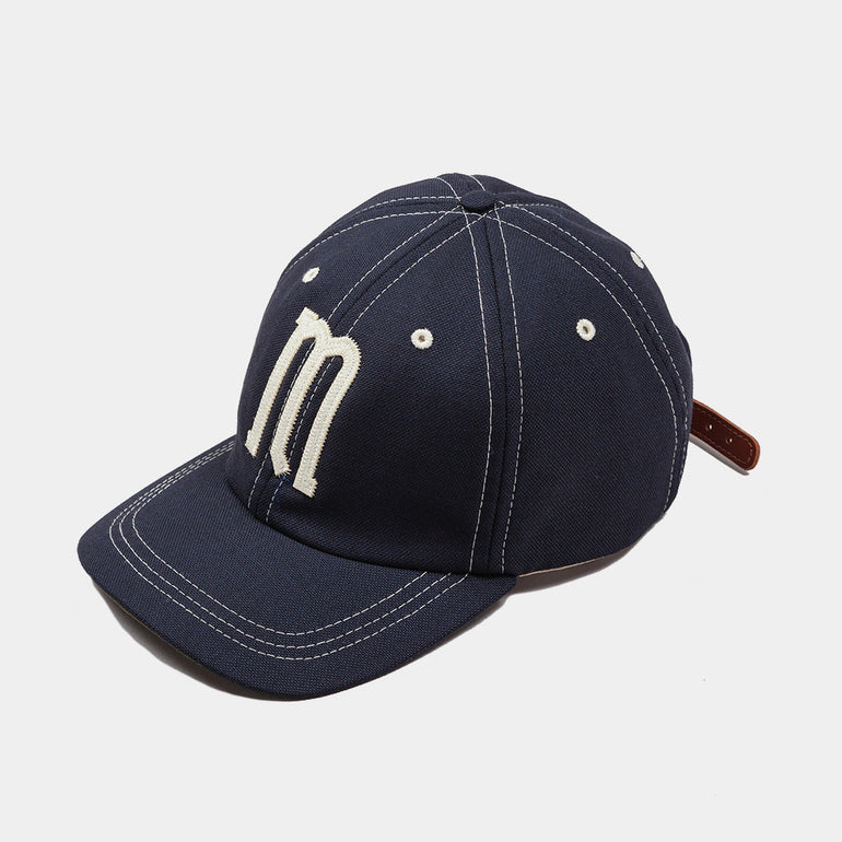 Moreporks Wool Blend Felt Applique Cap Navy