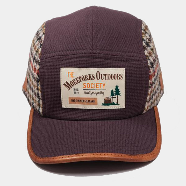 Moreporks Wool Blend Felt Applique Cap in Brown