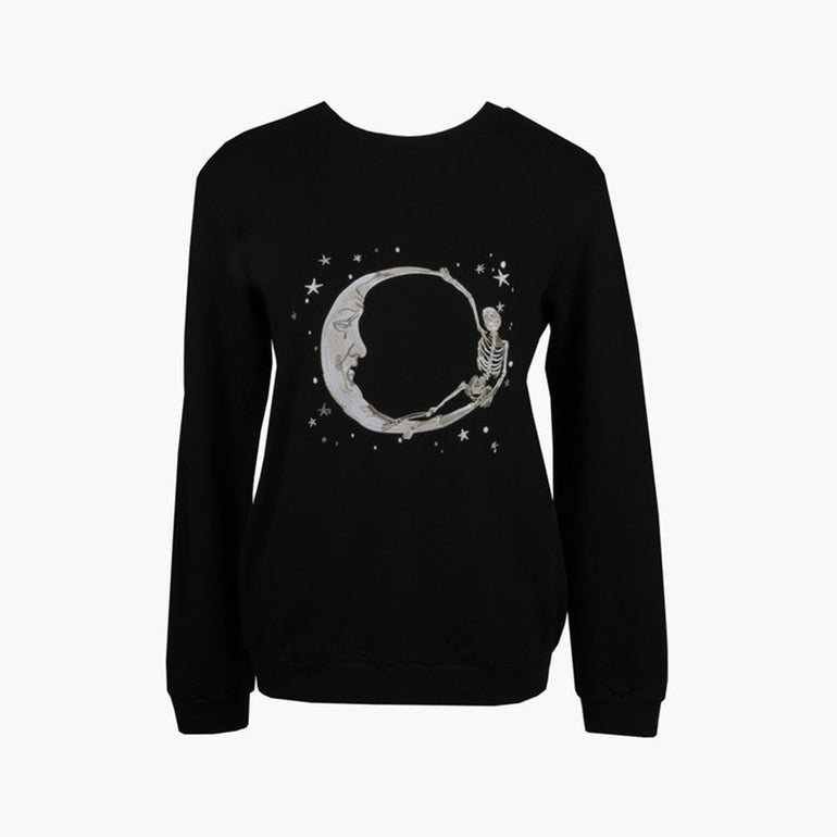 Lonely Paper Moon Crew (embroidered) - Black