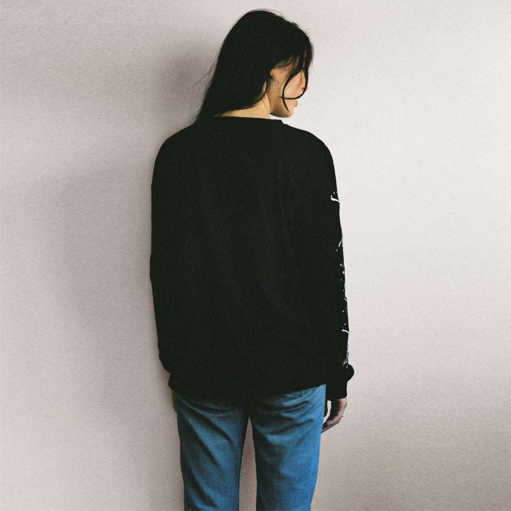Lonely / Paper Moon L/S Tee (embroidered) Black