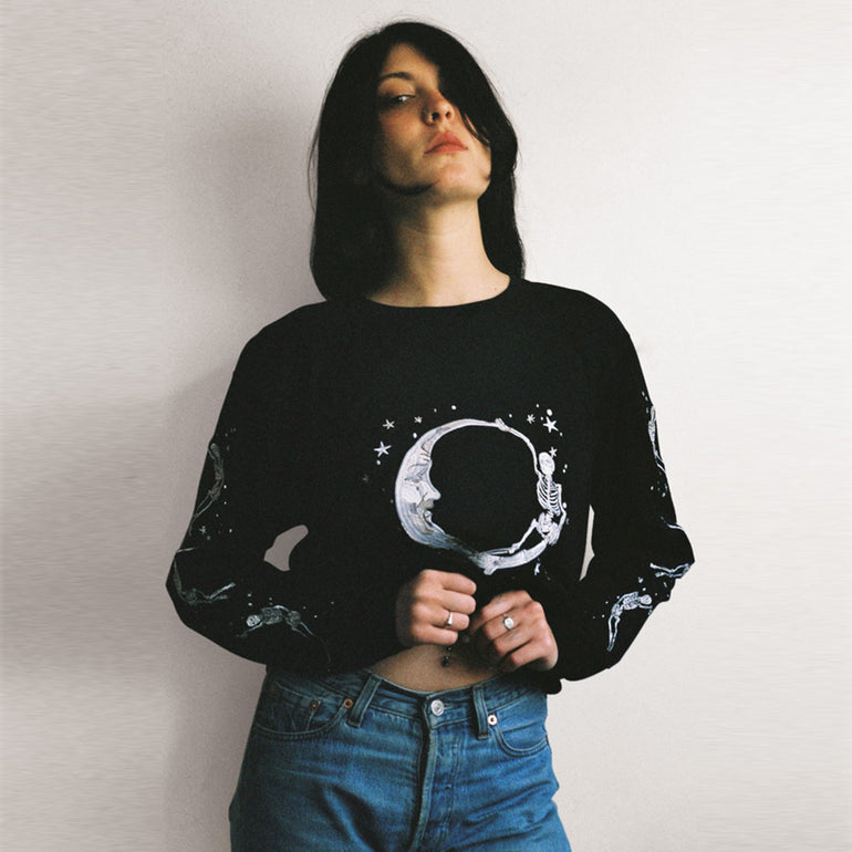 Lonely Paper Moon L/S Tee (embroidered) in Black