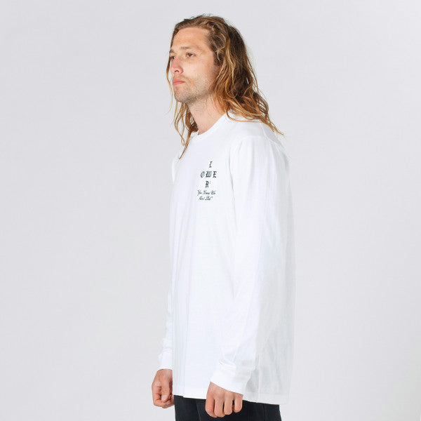 Lower QRS L/S Tee / Growl (Embroidered) in White