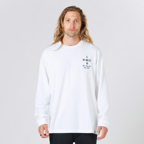 Lower QRS L/S Tee / Growl (Embroidered) - White