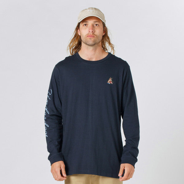 Lower QRS L/S Tee / Rex (Embroidered) - Navy