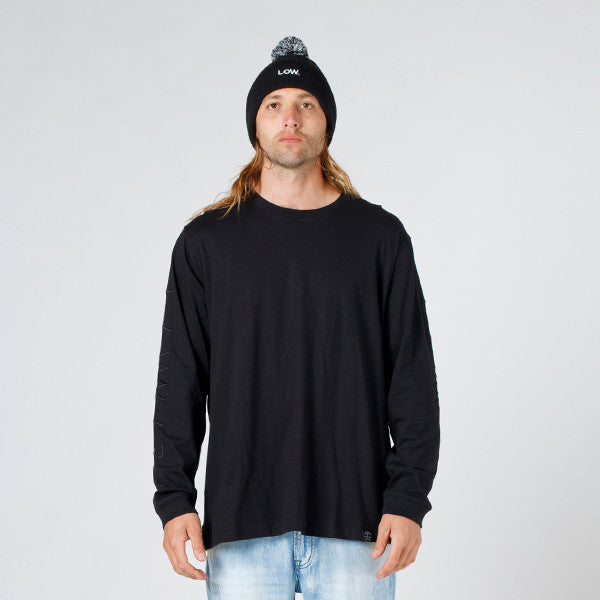 Lower QRS L/S Tee / Slash (Embroidered) - Black