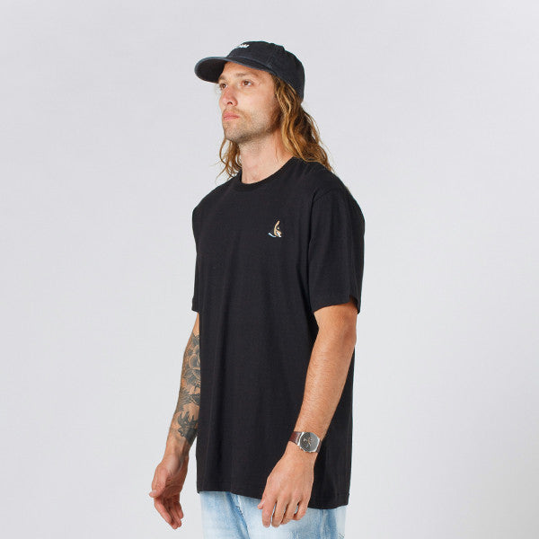 Lower QRS Tee / Rex (Embroidered) in Black
