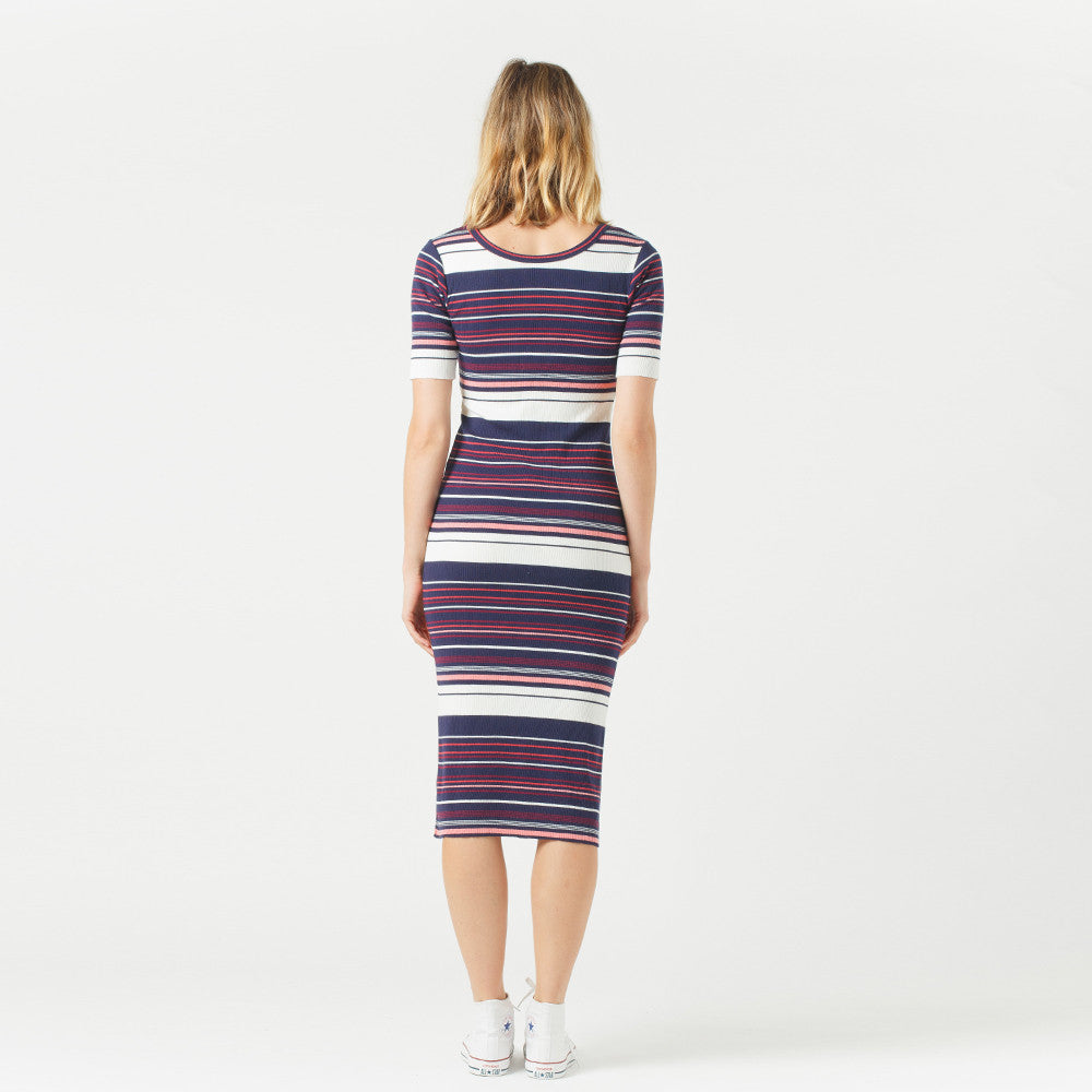 Five Each / Scoop Back Dress - Stripe