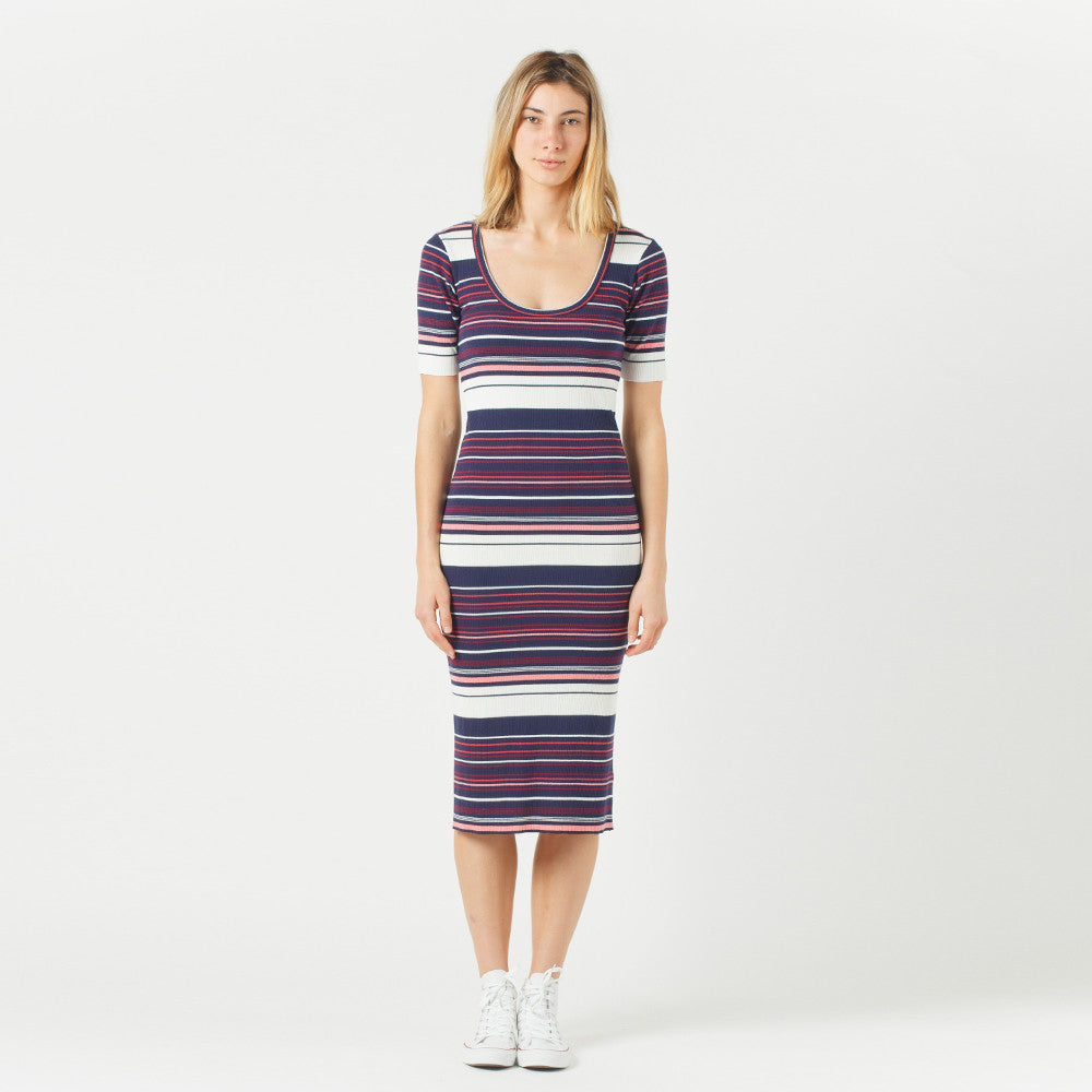 Five Each Scoop Back Dress (Stripe)