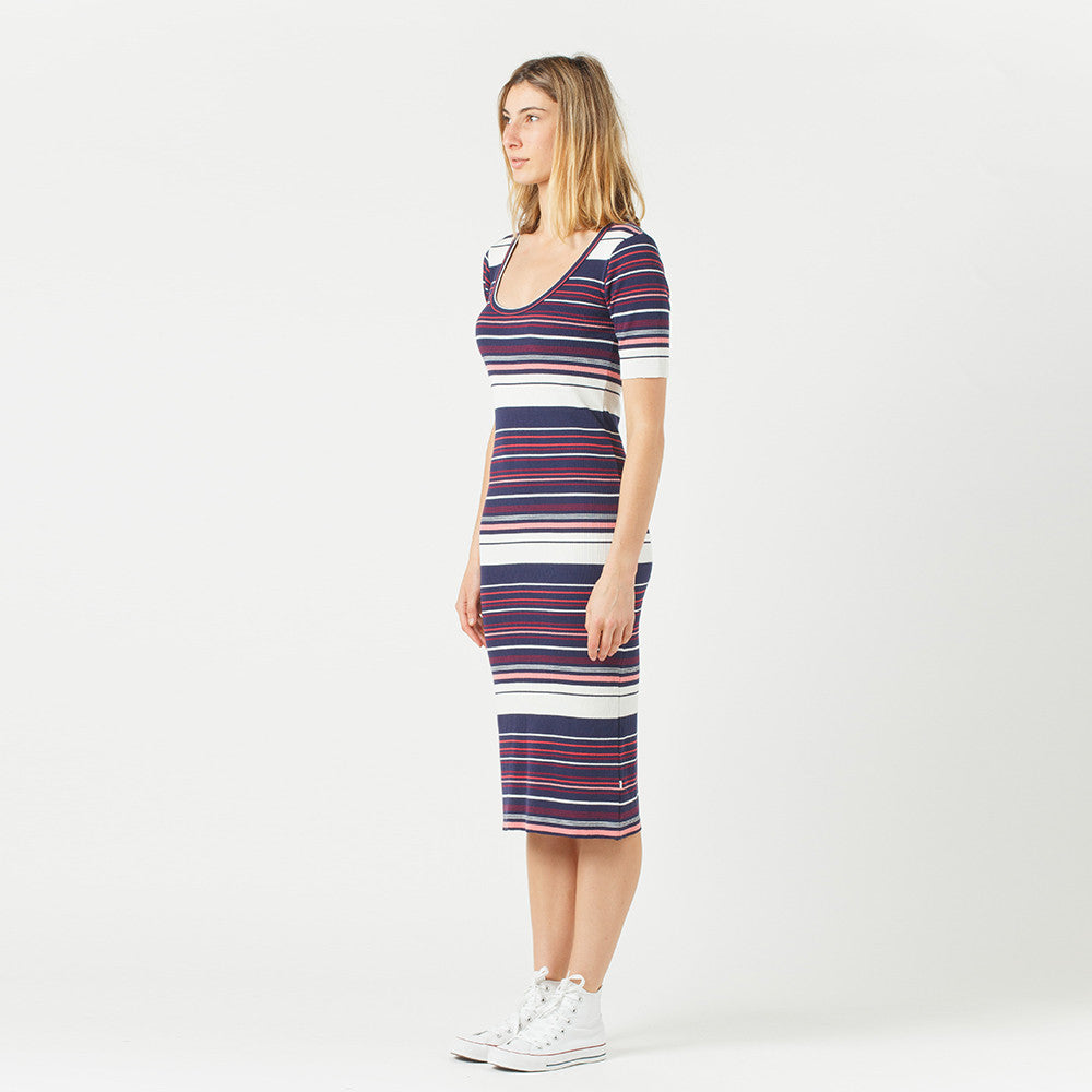 Five Each Scoop Back Dress / Stripe