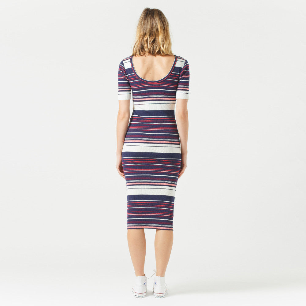 Five Each Scoop Back Dress Stripe
