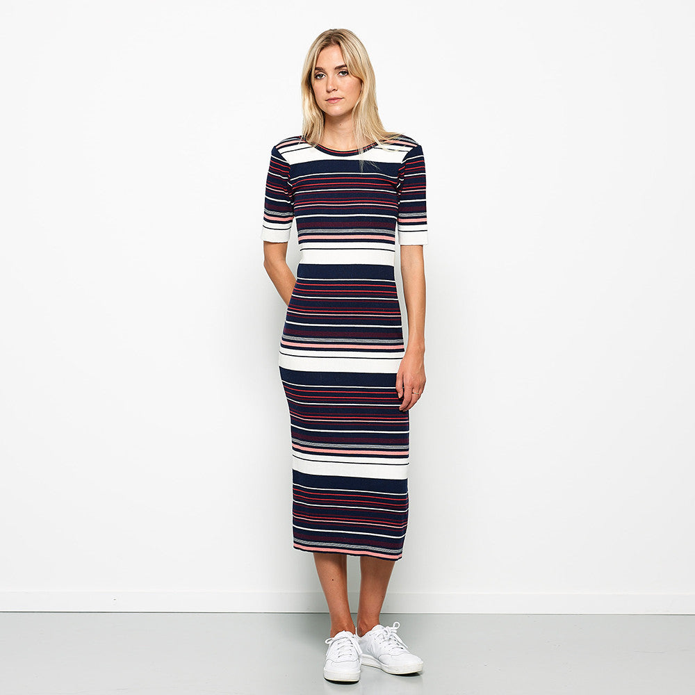 Five Each Scoop Back Dress - Stripe