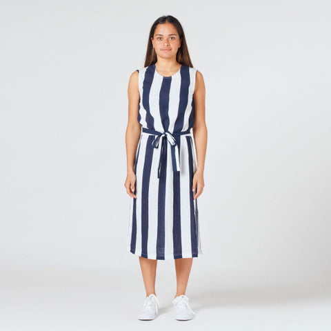Lower Sleeveless Shift Dress - Blue/White Stripe