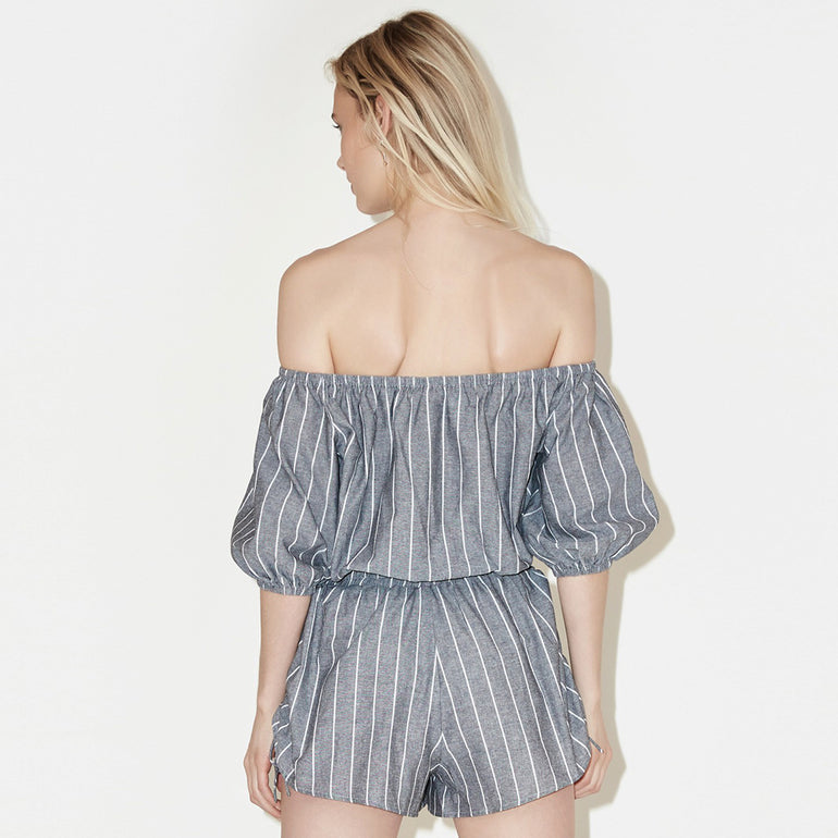 The Fifth Label Cubic Stripe Top - Charcoal/White