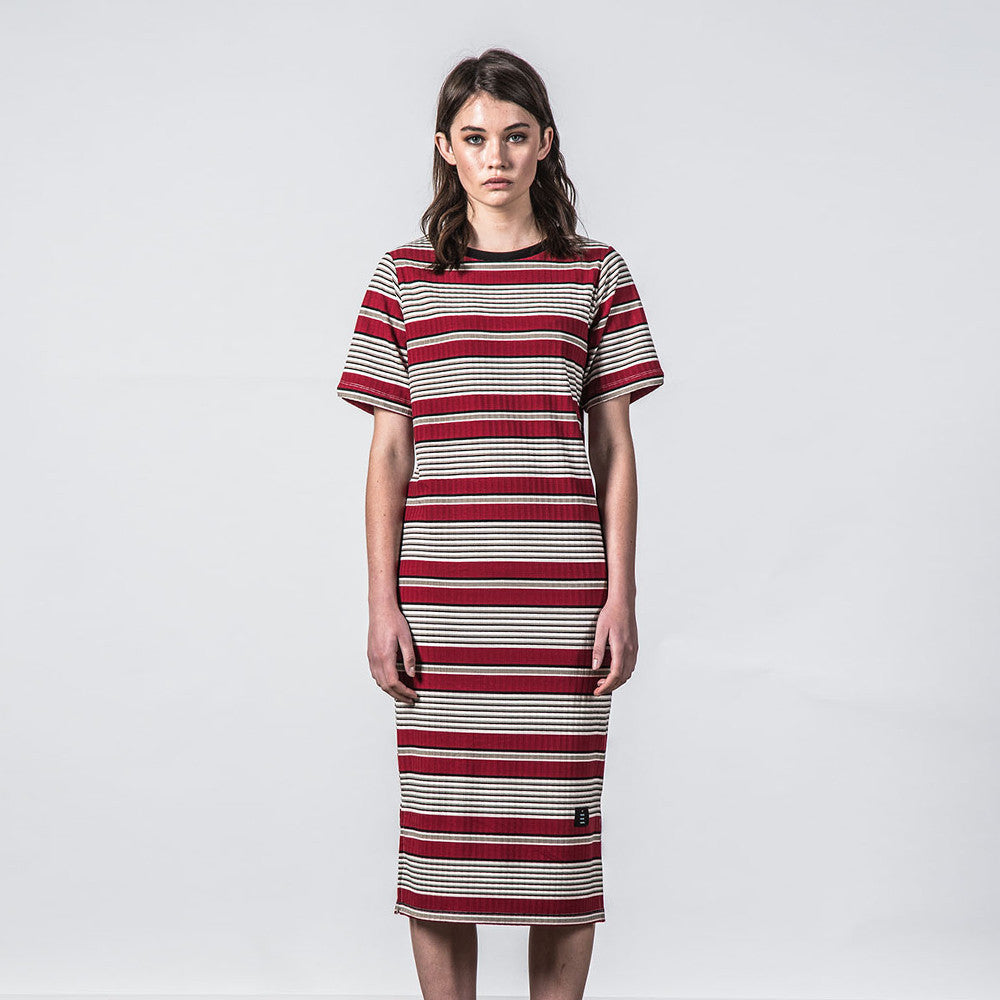 Thing Thing Fanmail Tee Dress - Deep Red Stripe