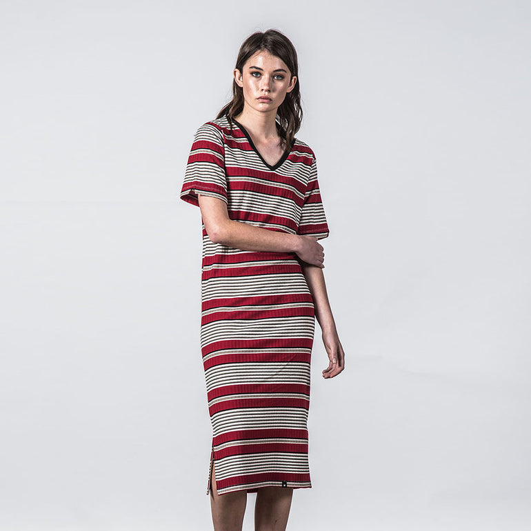 Thing Thing Fanmail Tee Dress in Deep Red Stripe