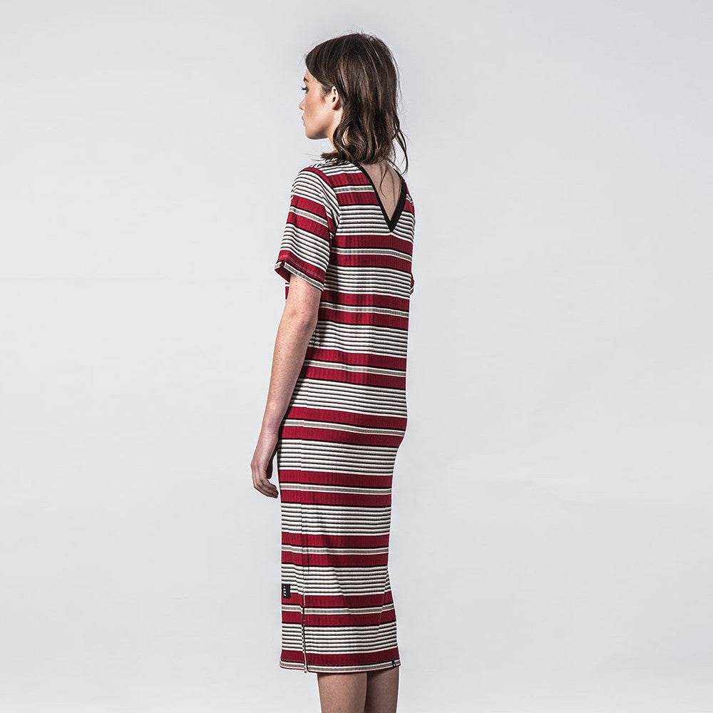 Thing Thing Fanmail Tee Dress Deep Red Stripe