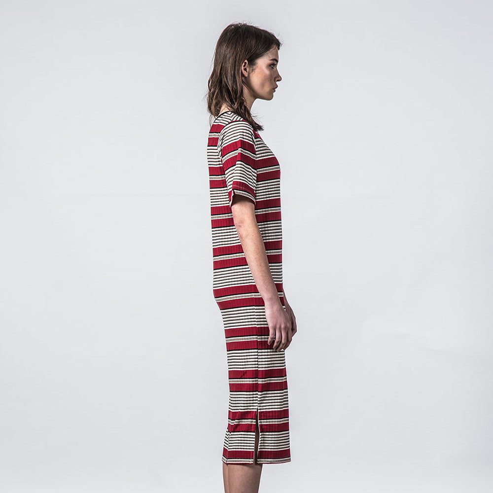 Thing Thing Fanmail Tee Dress (Deep Red Stripe)