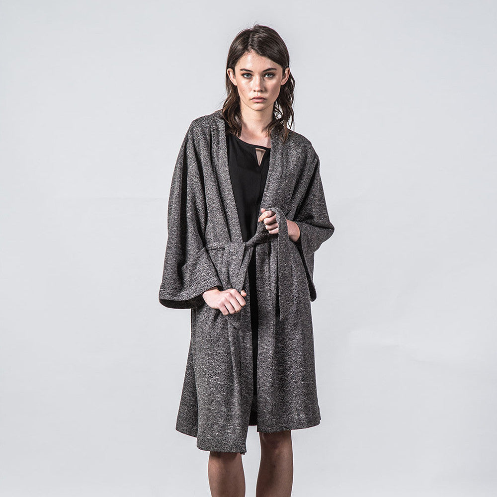Thing Thing Mira Knitted Kimono - Black Speckle