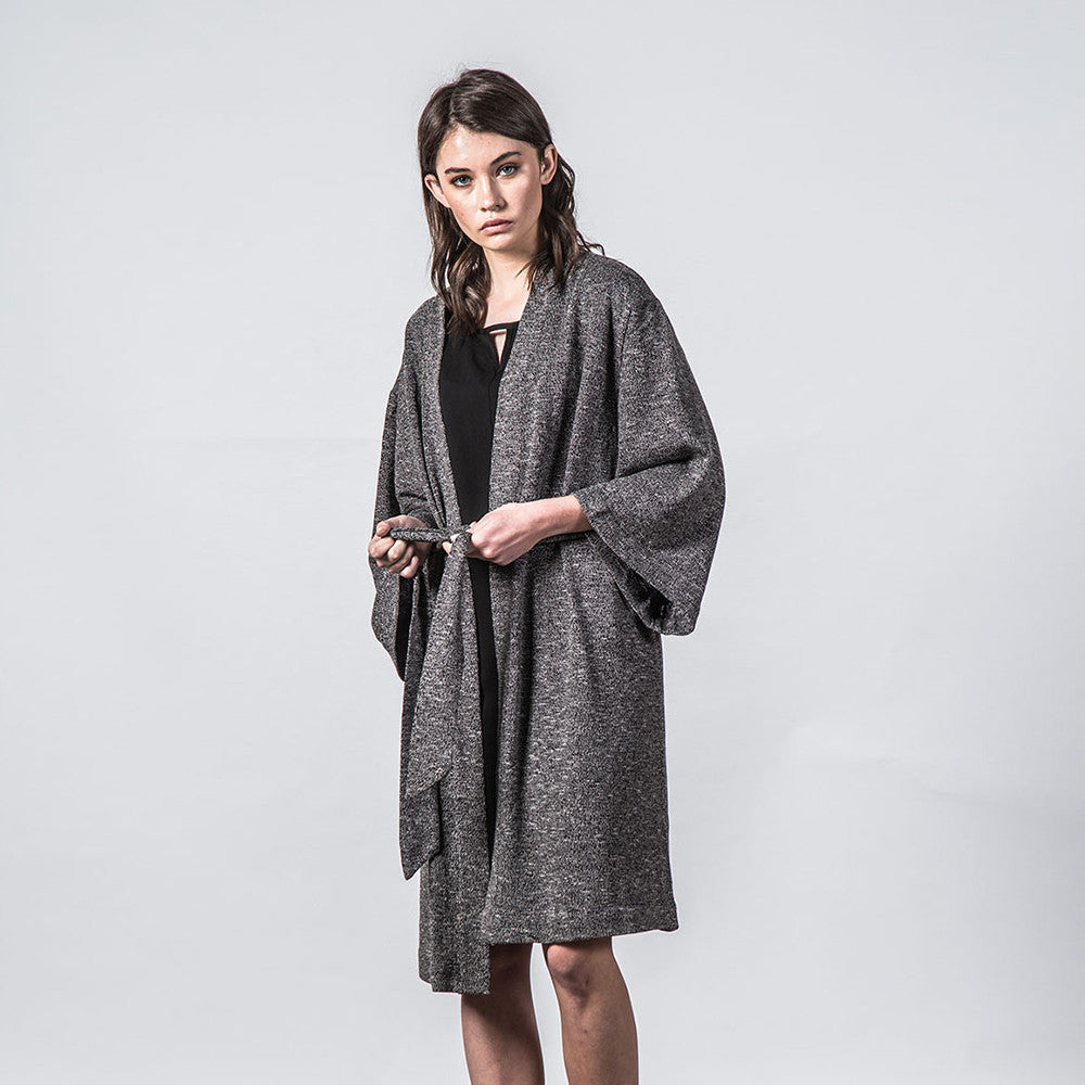 Thing Thing Mira Knitted Kimono in Black Speckle