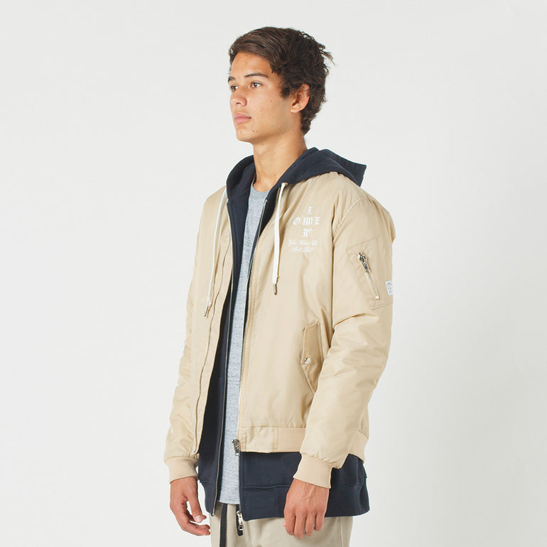 Lower Bruiser Bomber / Crossroads (Embroidered) in Tan