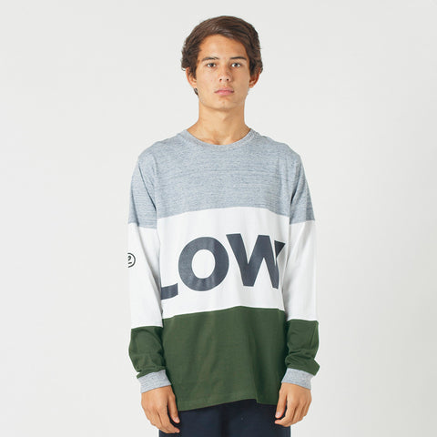 Lower LOW L/S Tee - Grey Marle/White/Olive