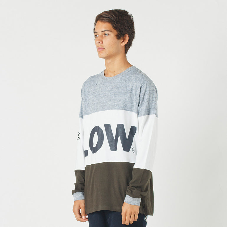 Lower LOW L/S Tee in Grey Marle/White/Olive