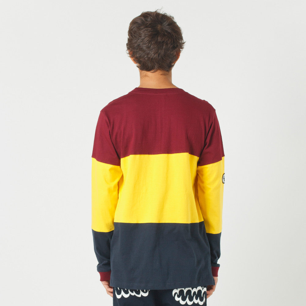 Lower LOW L/S Tee Maroon/Yellow/Navy
