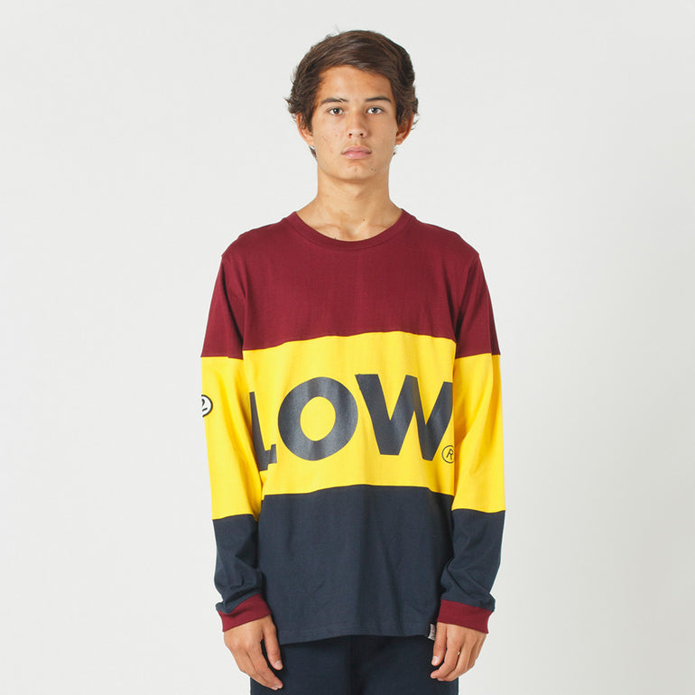 Lower LOW L/S Tee - Maroon/Yellow/Navy