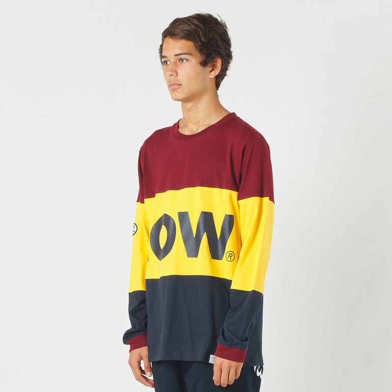 Lower LOW L/S Tee in Maroon/Yellow/Navy
