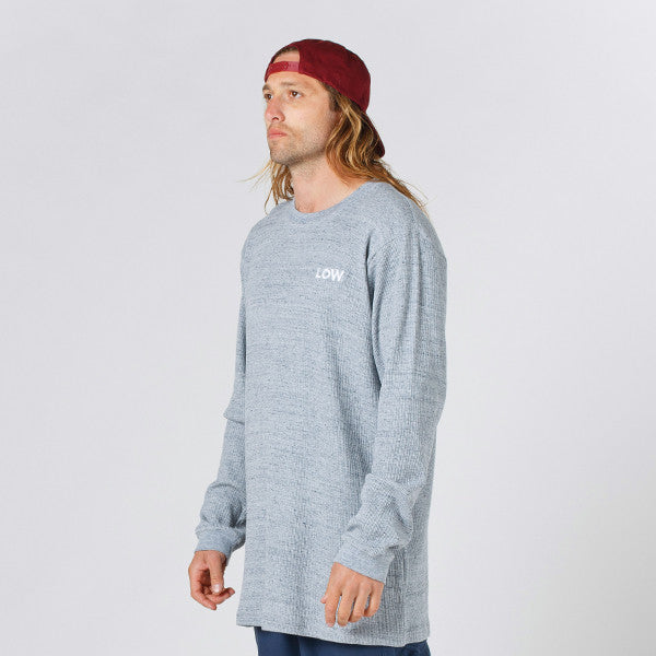 Lower Waffle Long L/S Tee / LOW (Embroidered) in Grey Marle