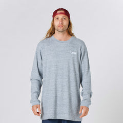 Lower Waffle Long L/S Tee / LOW (Embroidered) - Grey Marle