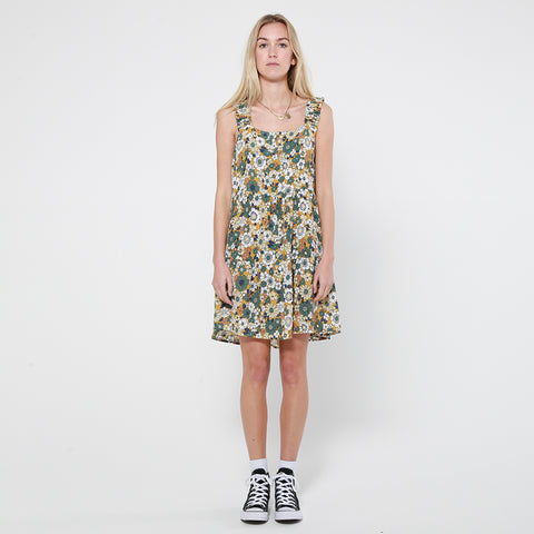 Lower Frill Strap Dress - Floral