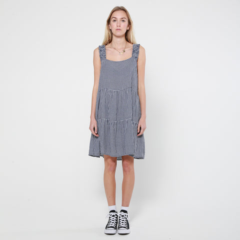 Lower Frill Strap Dress - Check