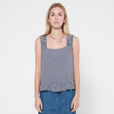 Lower Frill Strap Top - Gingham