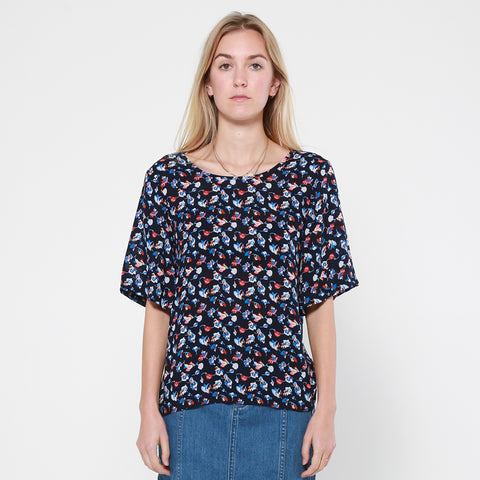 Lower Hugo Top - Navy Floral