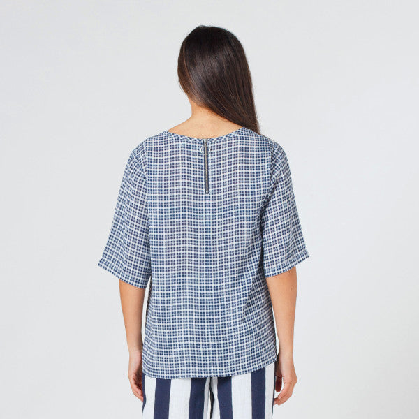Lower Zip Tee / Blue Check