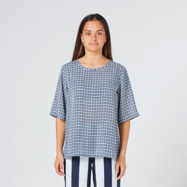 Lower Zip Tee - Blue Check