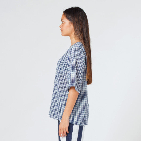 Lower Zip Tee (Blue Check)