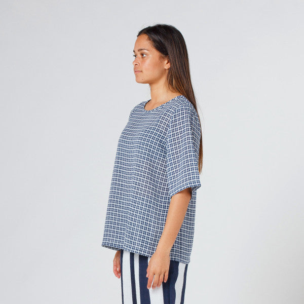 Lower Zip Tee in Blue Check
