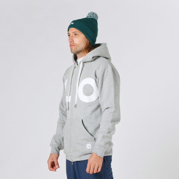 Lower Zip Hood / LO in Grey Marle