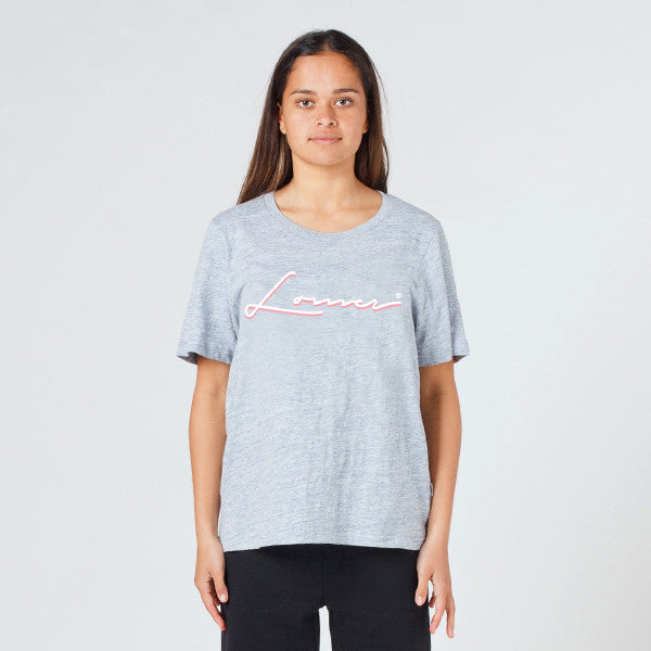 Lower Active Tee / Holiday (Embroidered) - Grey Marle