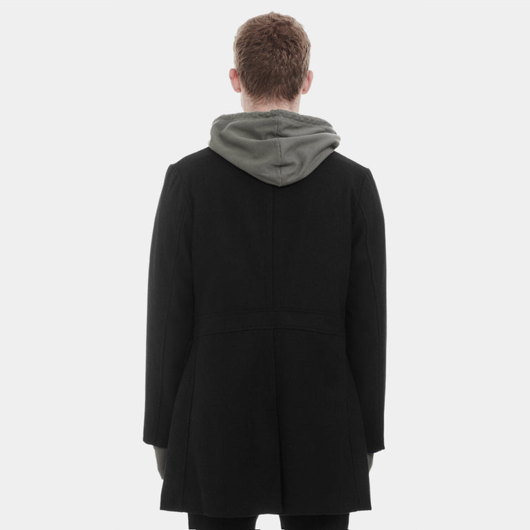 Commoners Mens Double Breasted Coat in Black