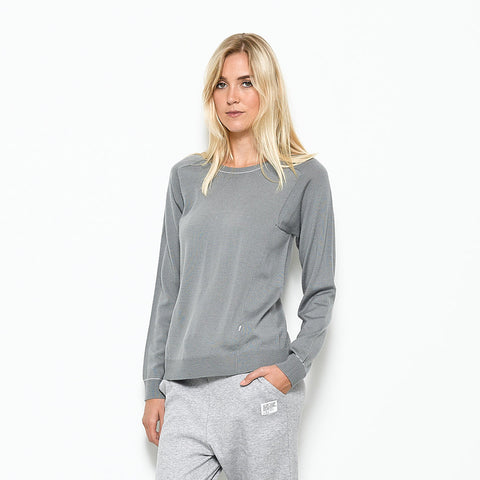 Five Each Contrast Knit Crew - Grey