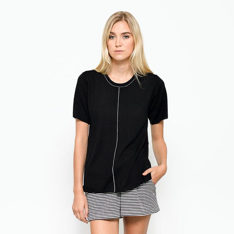 Five Each Contrast Knit Tee - Black