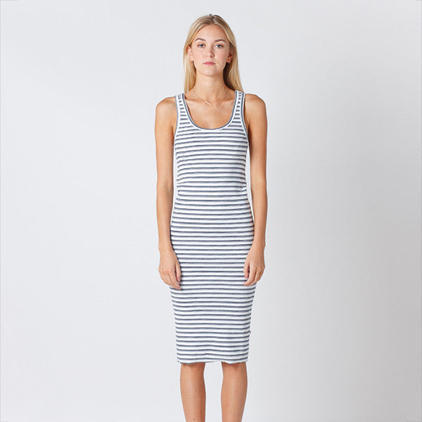 Five Each Classic Rib Dress - White/Navy Stripe Rib