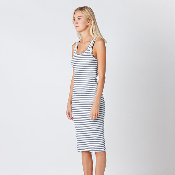 Five Each Classic Rib Dress in White/Navy Stripe Rib