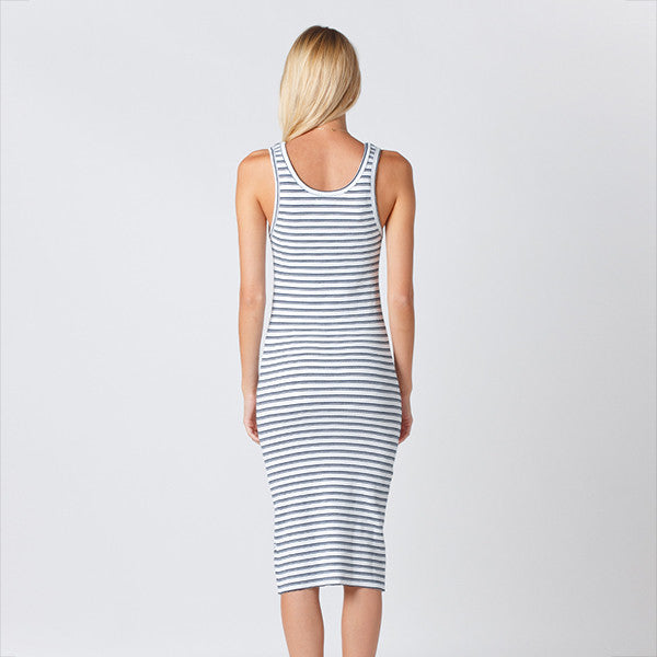 Five Each / Classic Rib Dress - White/Navy Stripe Rib