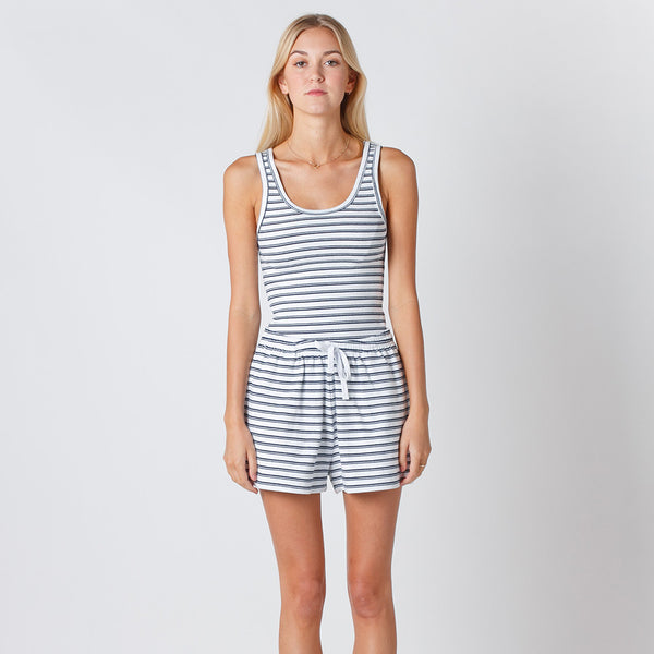 Five Each Classic Rib Tank - White/Navy Stripe Rib